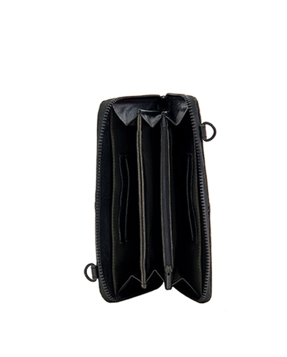 Zemp Ayo Cross-Body Sling Wallet / Clutch - Black - Macaroon Collection