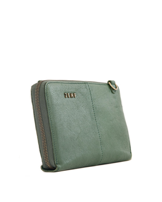 Zemp Ayo Cross-Body Sling Wallet / Clutch - Forest Green / Antique Brass - Macaroon Collection