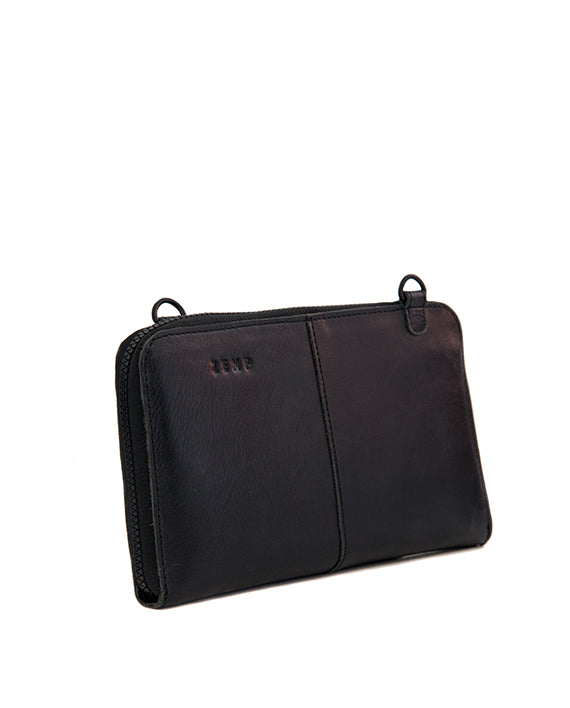 Zemp Ayo Cross-Body Leather Sling Wallet / Clutch - Black ** Pre-order - Macaroon Collection