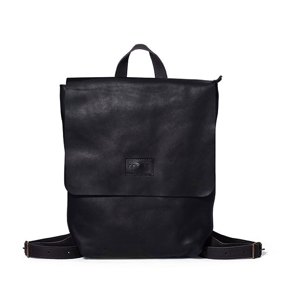 Antelo Henry Leather Backpack - Black with Tan - Macaroon Collection