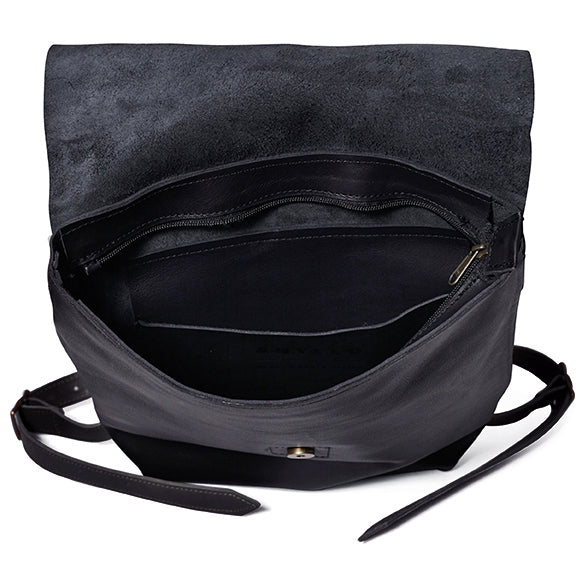 Antelo Henry Leather Backpack - Black - Macaroon Collection