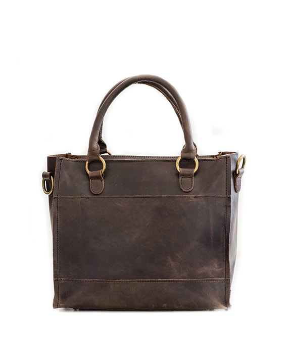 Zemp Bastille Leather Handbag - Waxy Brown / Antique Brass - Macaroon Collection