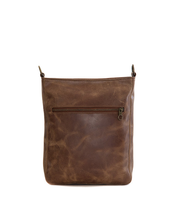 Zemp Boston Cross-Body Leather Sling Bag - Waxy Tan / Antique Brass - Macaroon Collection