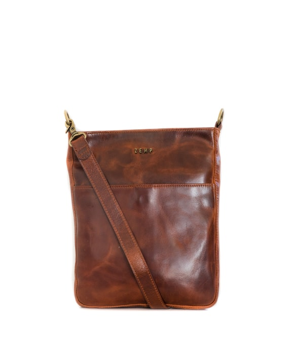 Zemp Boston Cross-Body Leather Sling Bag - Chestnut / Antique Brass - Macaroon Collection