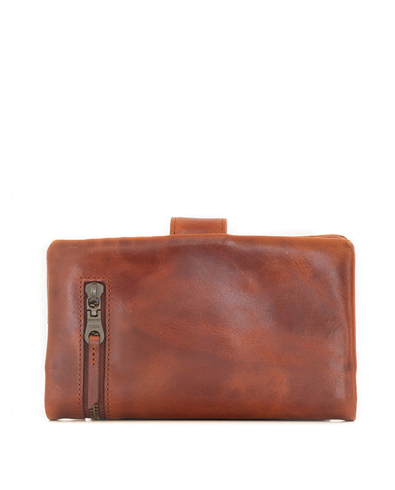 Zemp Carlene Leather Wallet - Chestnut / Antique Brass - Macaroon Collection