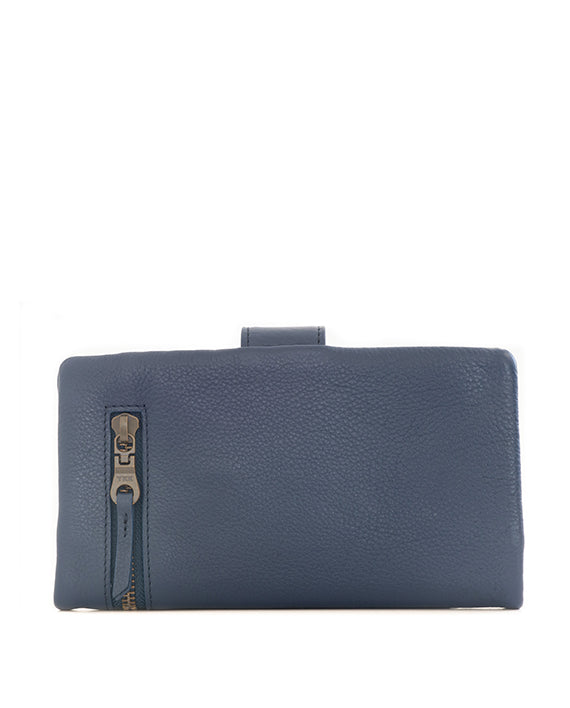 Zemp Carlene Leather Wallet - Navy / Antique Brass - Macaroon Collection