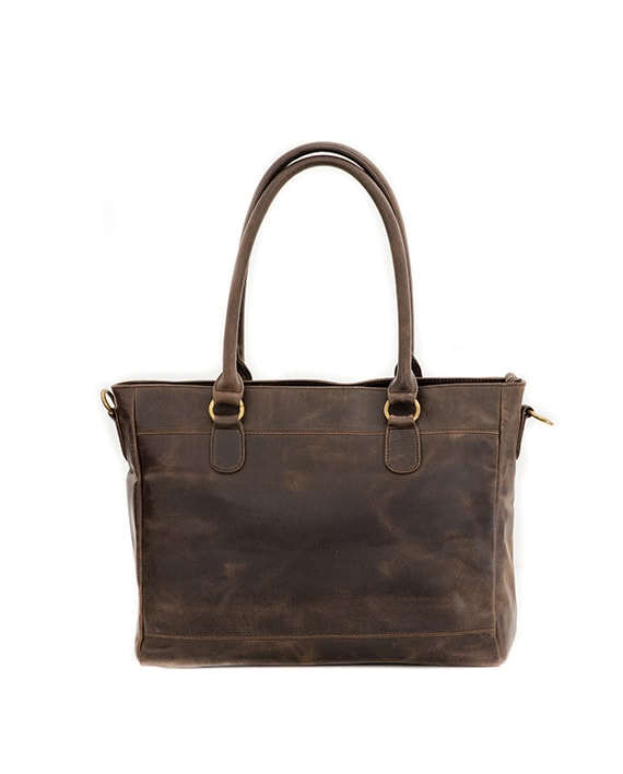 "Zemp Casablanca 13"" Handbag / Laptop Bag - Waxy Brown / Antique Brass - Macaroon Collection"