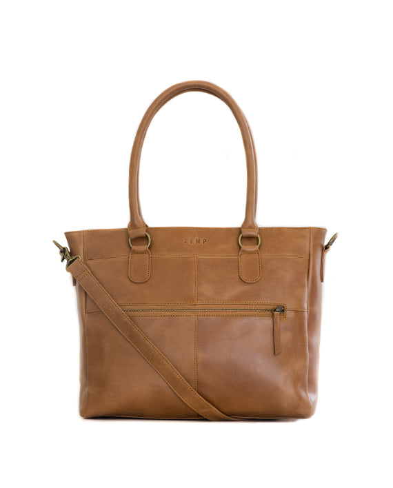 "Zemp Casablanca 13"" Leather Handbag / Laptop Bag - Waxy Tan - Macaroon Collection"
