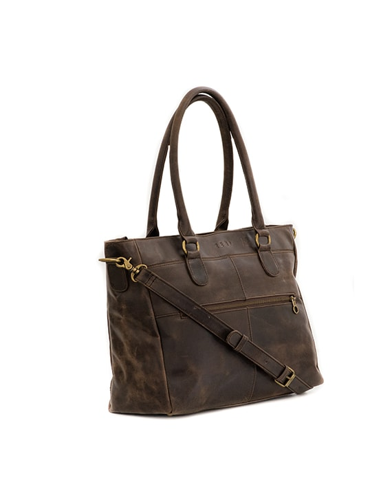 "Zemp Casablanca 13"" Leather Handbag / Laptop Bag - Waxy Brown - Macaroon Collection"