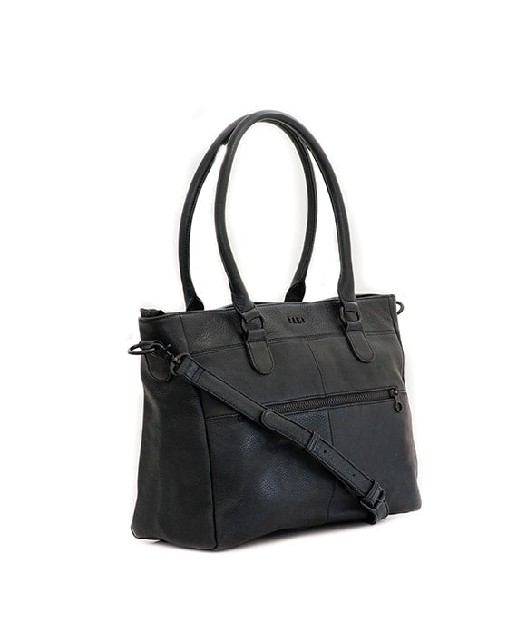 "Zemp Casablanca 13"" Leather Handbag / Laptop Bag - Black - Macaroon Collection"