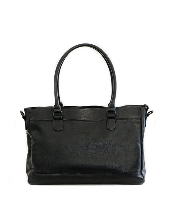 "Zemp Casablanca 15"" Leather Handbag / Laptop Bag - Black - Macaroon Collection"