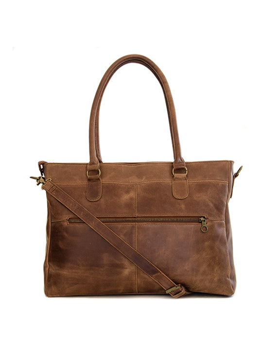 "Zemp Casablanca 15"" Leather Bag - Waxy Tan / Antique Brass"