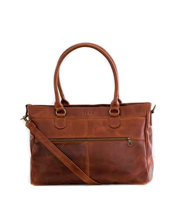 "Zemp Casablanca 15"" Leather Handbag / Laptop Bag - Chestnut - Macaroon Collection"