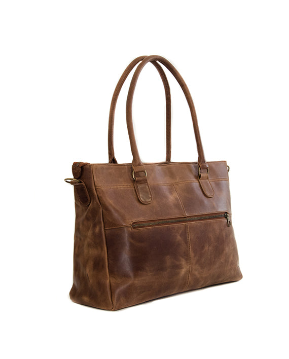 "Zemp Casablanca 15"" Leather Handbag / Laptop Bag - Waxy Tan - Macaroon Collection"