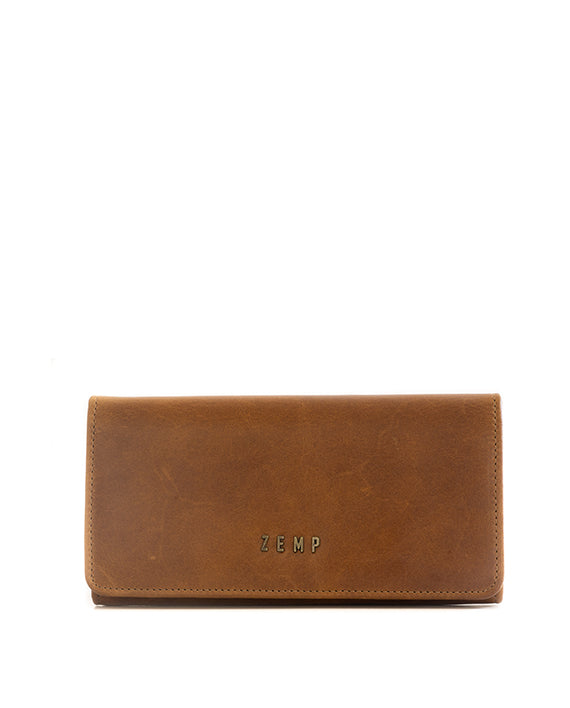 Zemp Claire Leather Wallet - Waxy Tan / Antique Brass - Macaroon Collection