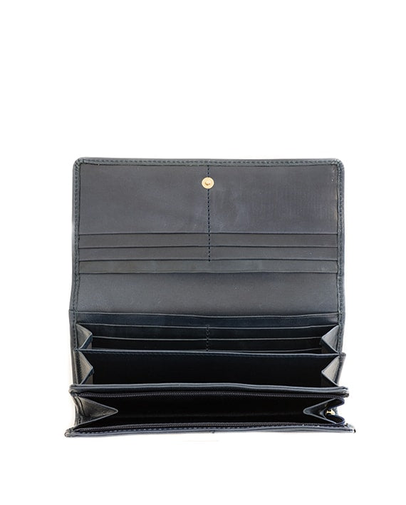 Zemp Claire Wallet - Navy Blue / Antique Brass - Macaroon Collection