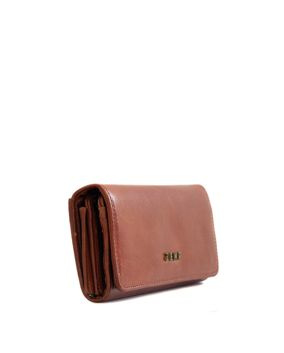 Zemp Claire Leather Wallet - Chestnut / Antique Brass - Macaroon Collection