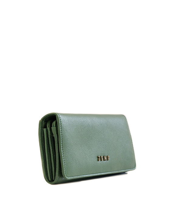Zemp Claire Leather Wallet - Forest Green / Antique Brass - Macaroon Collection