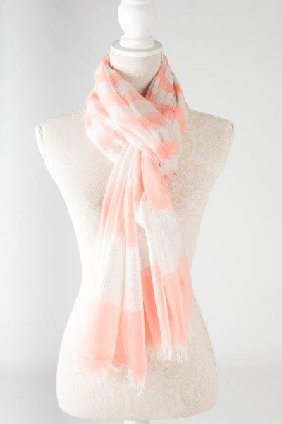 Sale ** Metallic Striped Scarf - Coral - Macaroon Collection