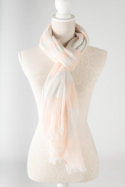 Sale ** Metallic Striped Scarf - Nude - Macaroon Collection