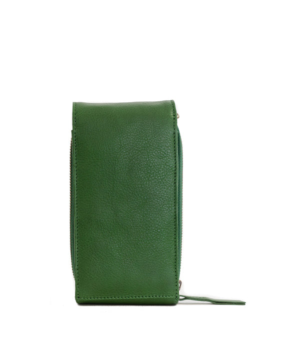 Zemp Dreamer Leather Cross Body Bag - Green / Antique Brass - Macaroon Collection
