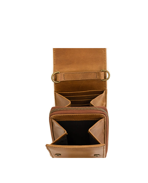 Zemp Dreamer Leather Cross Body Bag - Waxy Tan / Antique Brass - Macaroon Collection