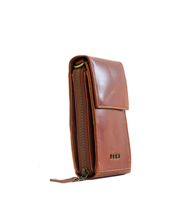 Zemp Dreamer Cross Body Bag - Chestnut / Antique Brass - Macaroon Collection