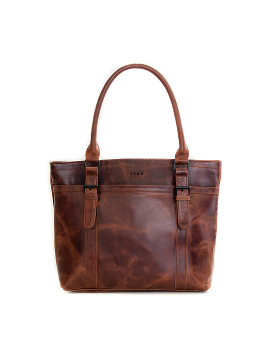 Zemp Dubai Leather Handbag - Chestnut - Macaroon Collection