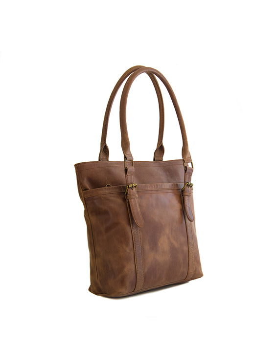Zemp Dubai Leather Handbag - Waxy Tan / Antique Brass - Macaroon Collection