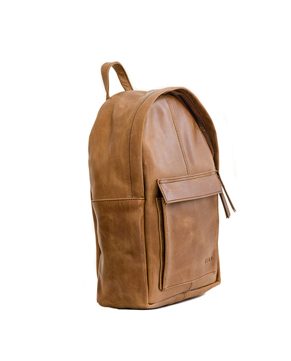 Zemp Go-To Leather Backpack - Waxy Tan / Antique Brass - Macaroon Collection