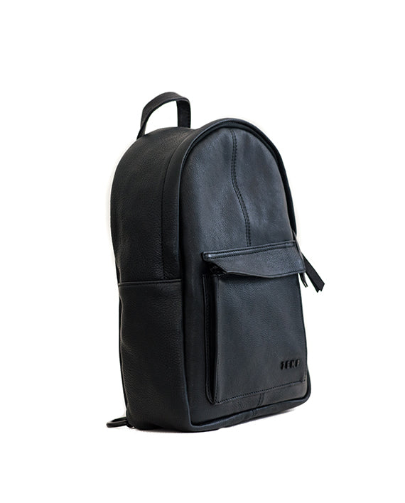 Zemp Go-To Leather Backpack - Black - Macaroon Collection