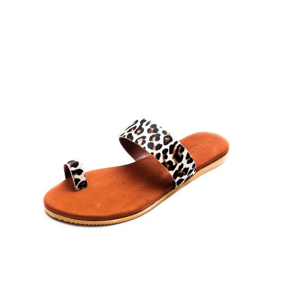 St Lucia Leather Sandals - Snow Leopard - Macaroon Collection