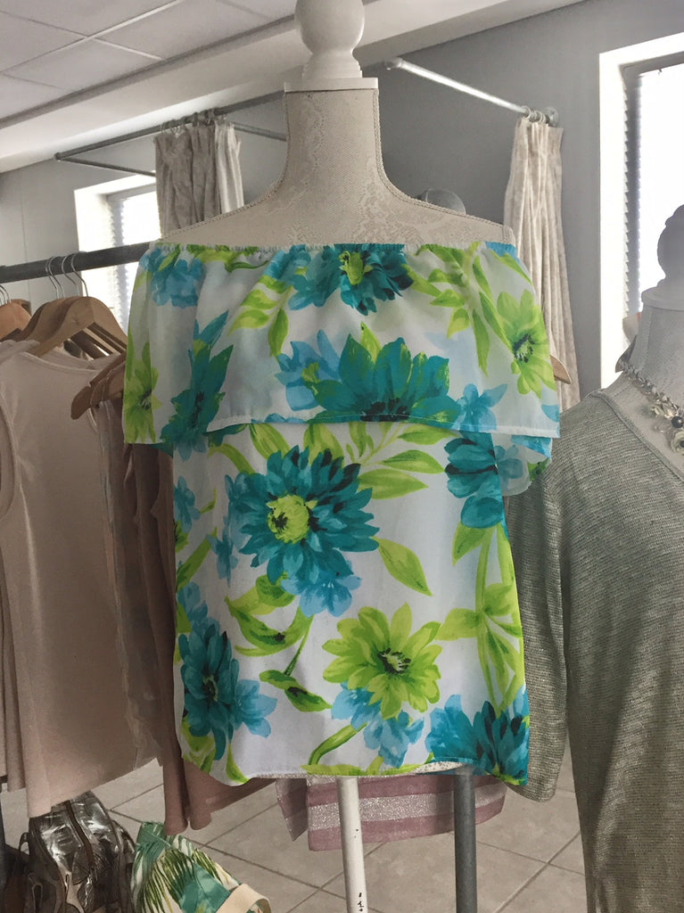 Sale ** Floral Off-the-Shoulder / One Shoulder top, Macaroon Collection, [product-type] - Macaroon Collection