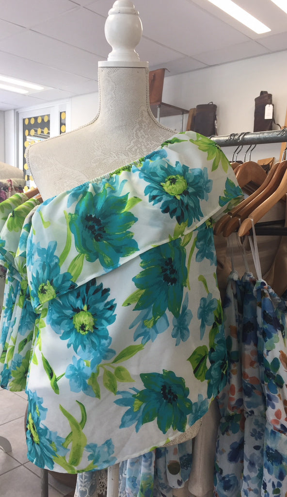 Sale ** Floral Off-the-Shoulder / One Shoulder top - Macaroon Collection