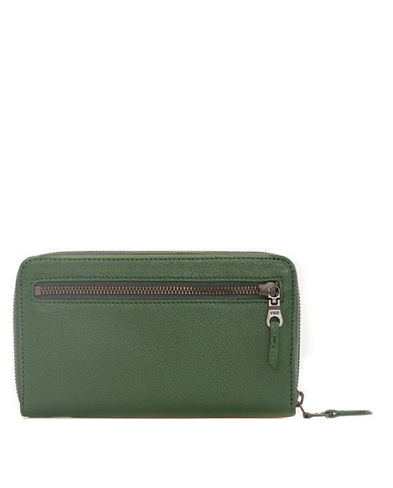 Zemp Jill Leather Wallet - Green / Antique Brass - Macaroon Collection