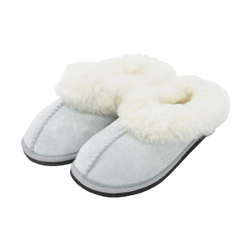 Roon Mule Wool Slippers - Light Grey-Blue