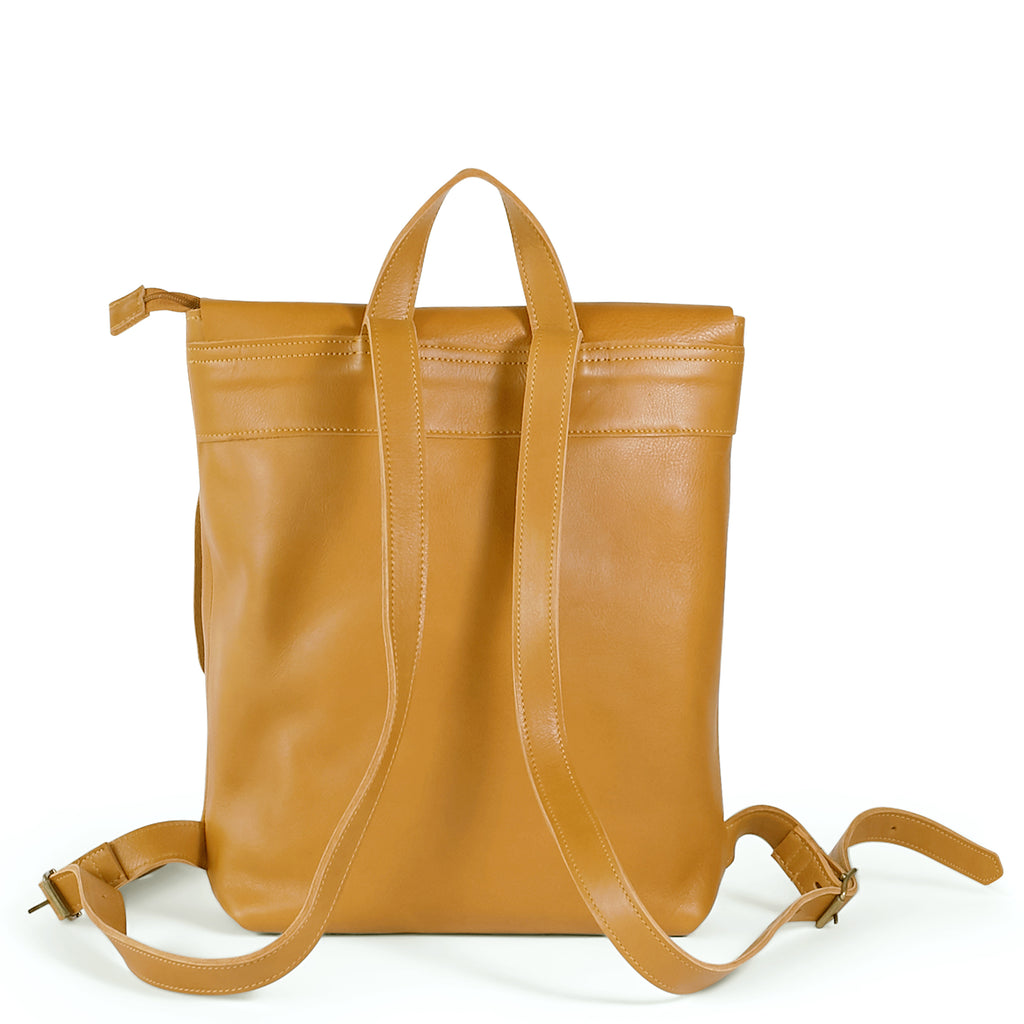 Antelo Henry Leather Backpack - Mustard - Macaroon Collection