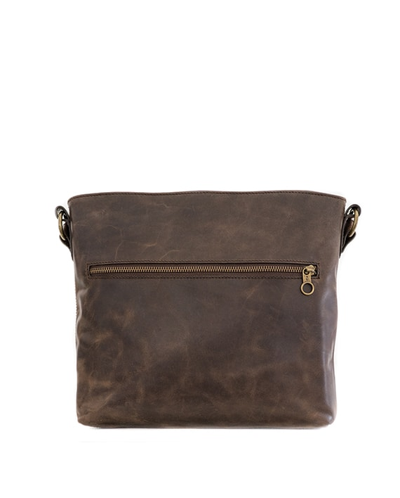 Zemp Orlando Cross-Body Sling Bag - Waxy Brown / Antique Brass - Macaroon Collection