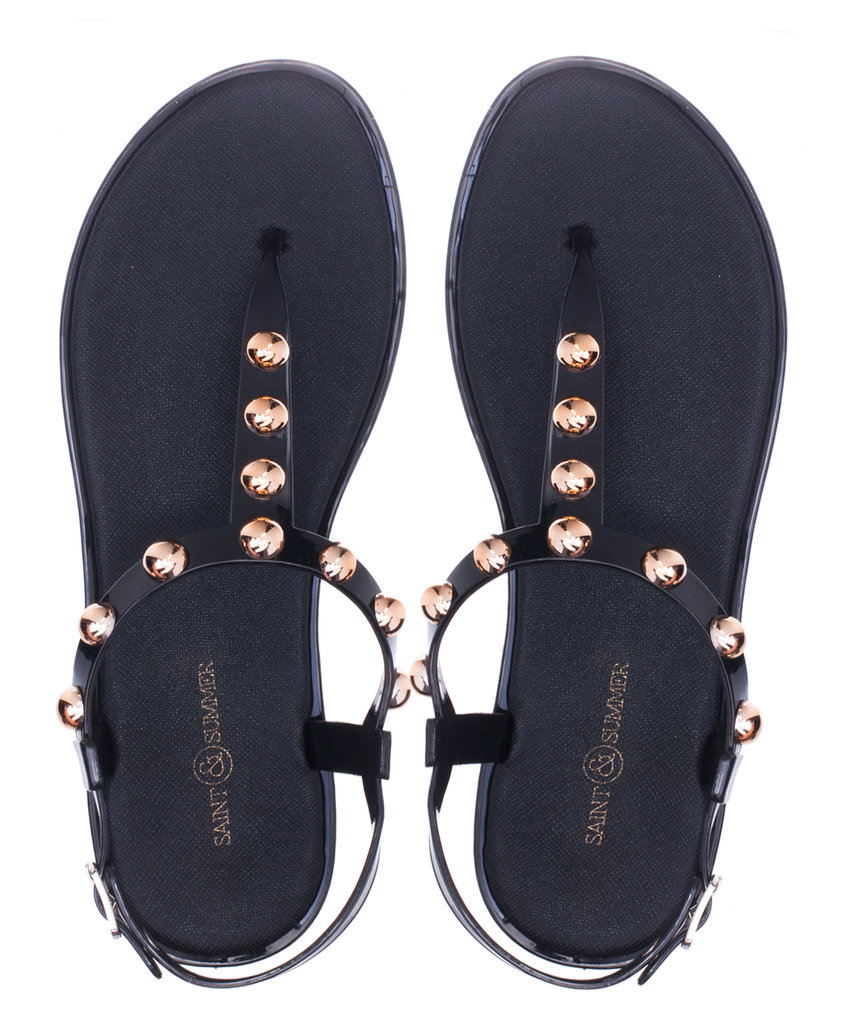Sale ** Saint & Summer Luxe Jelly Sandal - Black - Macaroon Collection