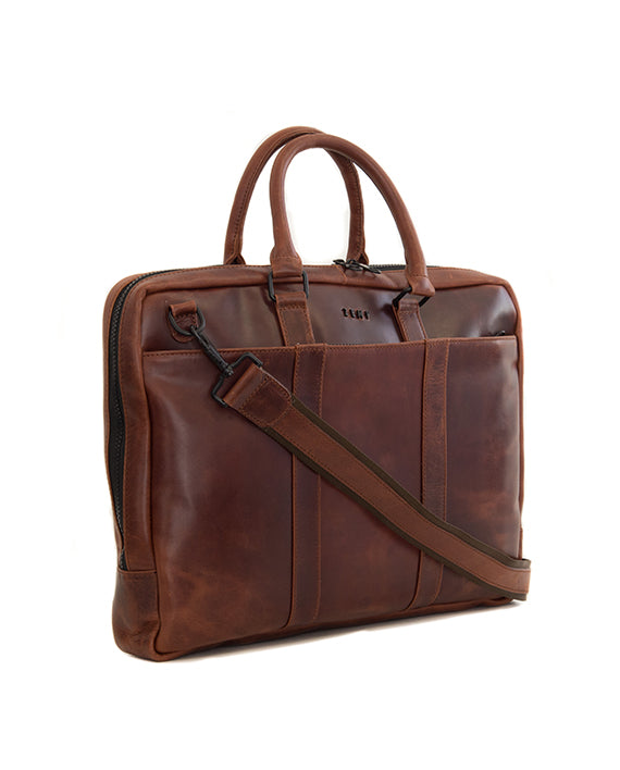 "Zemp Supernova 15"" Leather Laptop Bag - Chestnut - Macaroon Collection"