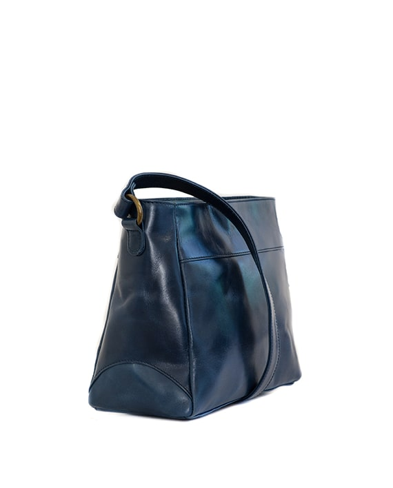 Zemp Vancouver Leather Cross-Body Sling Bag - Navy / Antique Brass - Macaroon Collection