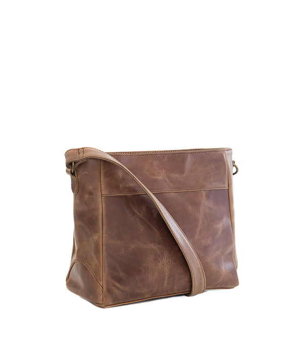 Zemp Vancouver Leather Cross-Body Sling Bag - Waxy Tan - Macaroon Collection