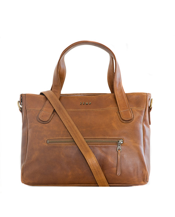 Zemp Venice Leather Handbag - Waxy Tan  / Antique Brass - Macaroon Collection