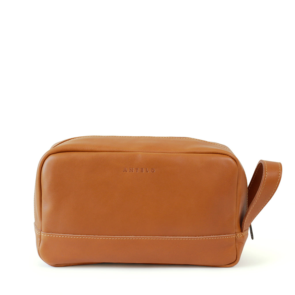 Antelo Will Leather Unisex Washbag - Cider - Macaroon Collection