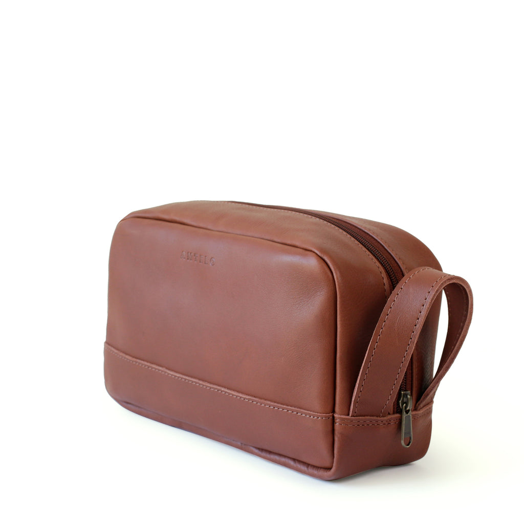 Antelo Will Leather Unisex Washbag - Tan - Macaroon Collection