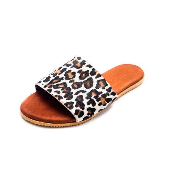 Tess Leather Sandals - Snow Leopard - Macaroon Collection