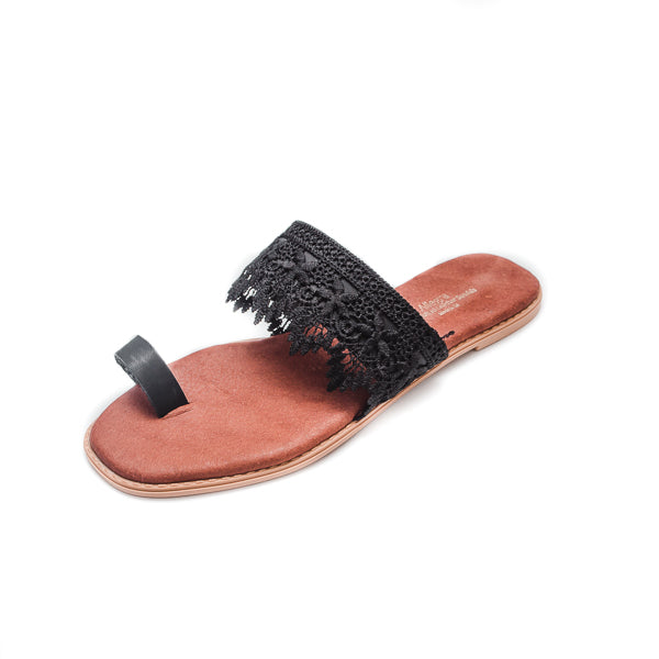 Pia Leather & Lace Sandals - Black - Macaroon Collection