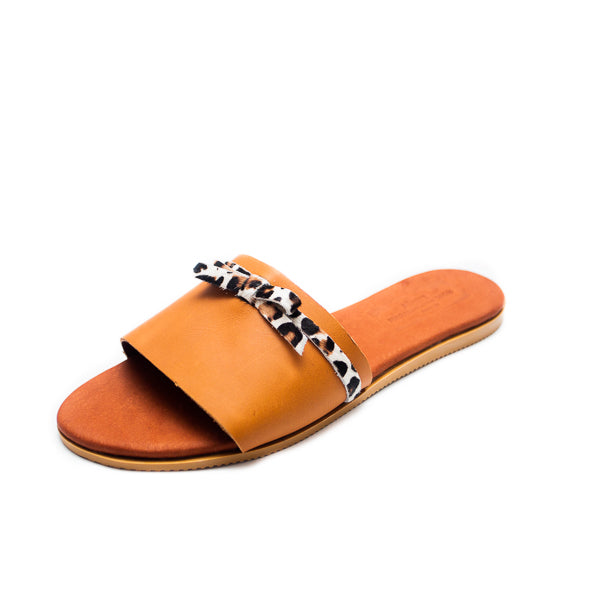 Kendra Leather Sandals - Tan - Macaroon Collection