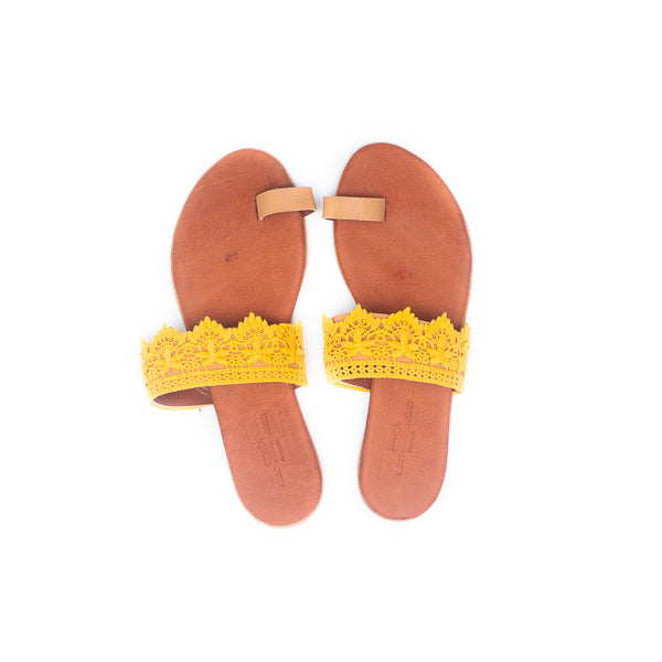 Pia Leather & Lace Sandals - Mustard - Macaroon Collection