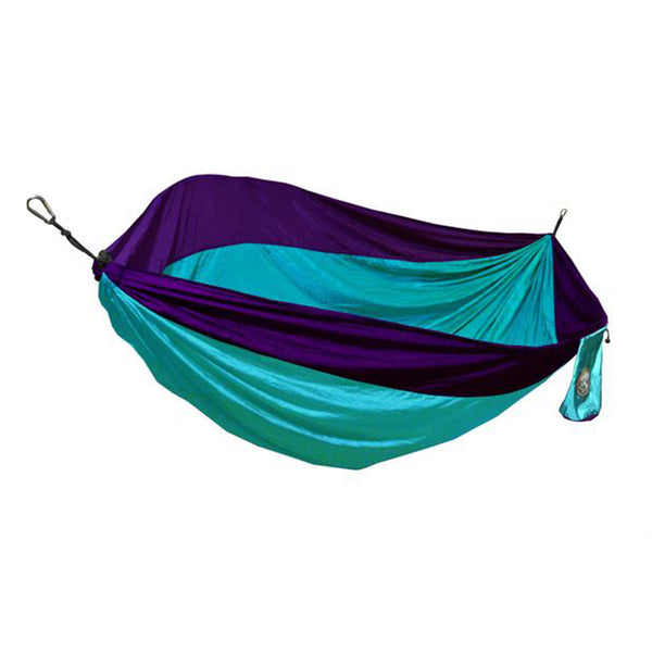 Single Person Teal Blue & Purple Travel Hammock